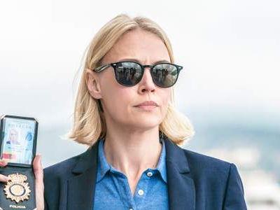 Elen Rhys as Miranda Blake wears black sunglasses in The Mallorca Files